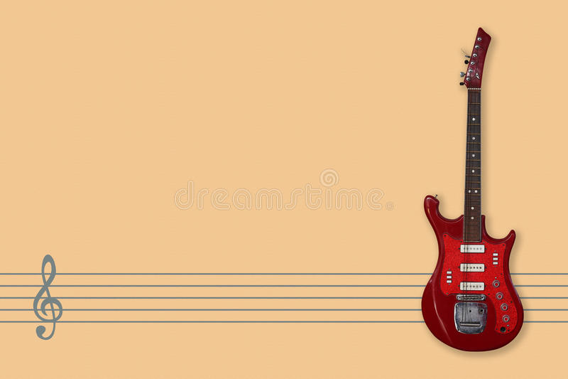 Weinlesee-gitarre, Musikpersonal und Notenschlüssel stockbild