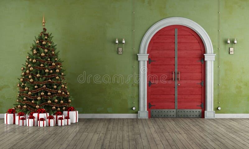 Weinleseeingang mit Weihnachtsbaum lizenzfreie abbildung