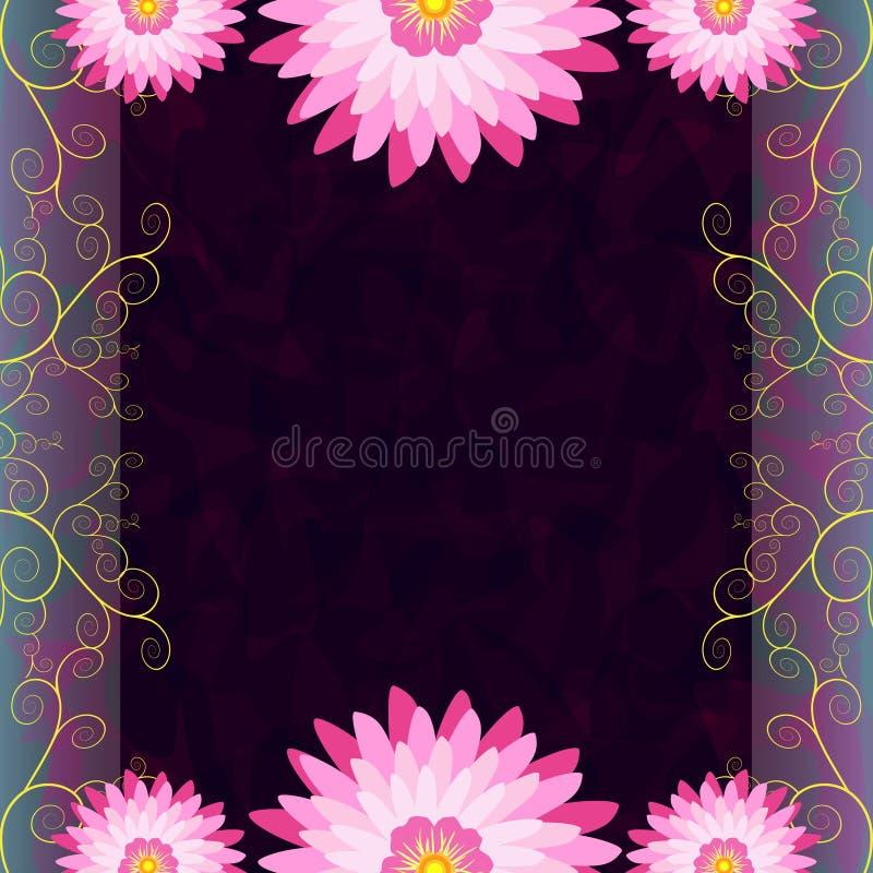 Weinleseeinladungs- oder -grußkarte mit Blumen vektor abbildung