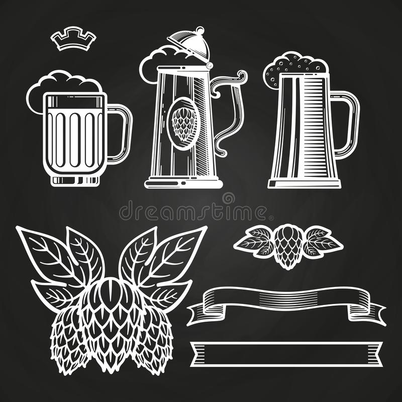 Weinleseelemente für Aufkleber - Glas des Bierbandes hüpft auf Tafel vektor abbildung