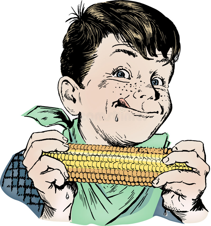 Weinlesefünfziger jahre Junge, der Mais isst lizenzfreies stockbild