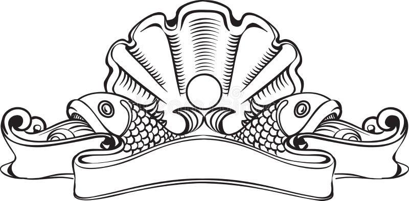 Weinlesefahne mit Muschel und Perle vektor abbildung
