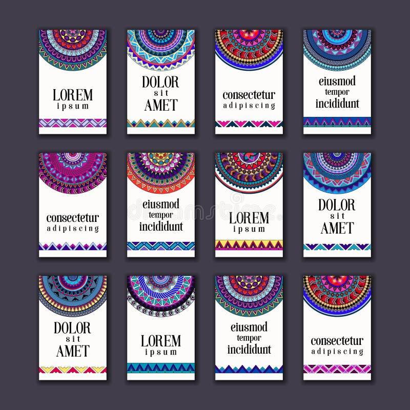Weinlesefahnen-Kartensatz Dekorative Mandala, dekorative Elemente des ethnischen Kreises lizenzfreie abbildung