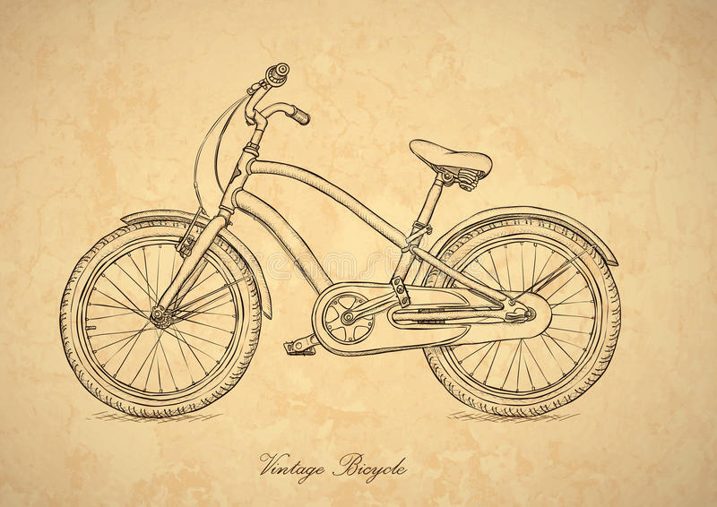 Weinlesefahrrad - Vektor in der Retro- Art vektor abbildung