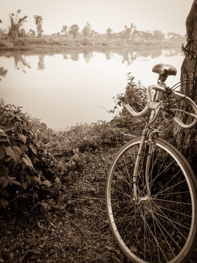 Weinlesefahrradart nahe dem Fluss stockfotos