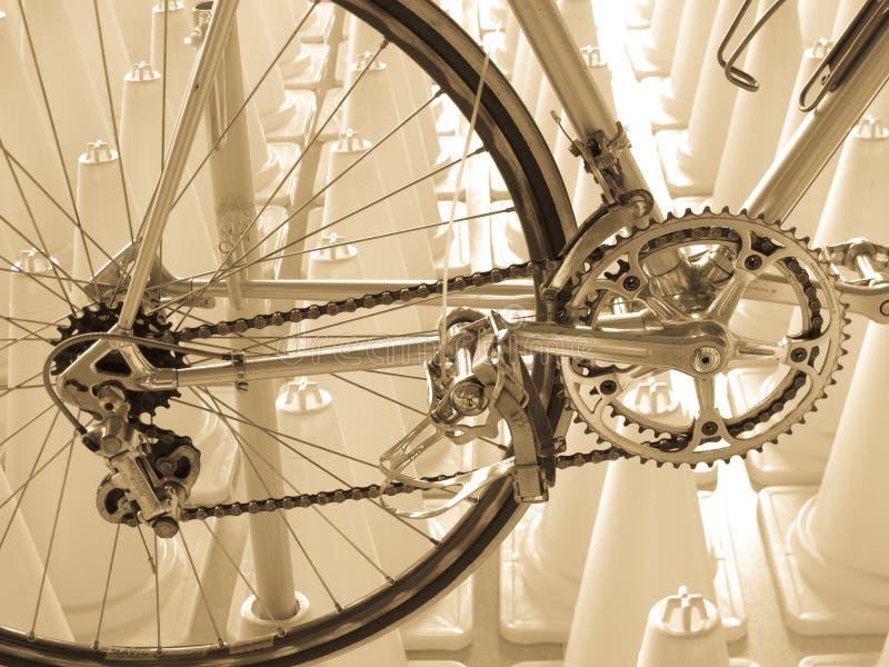 Weinlesefahrradkomponente CAMPAGNOLO: Hinteres derailleur, Crankset, Pedale lizenzfreies stockfoto
