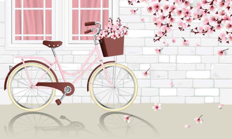Weinlesefahrradparken neben Wand vektor abbildung
