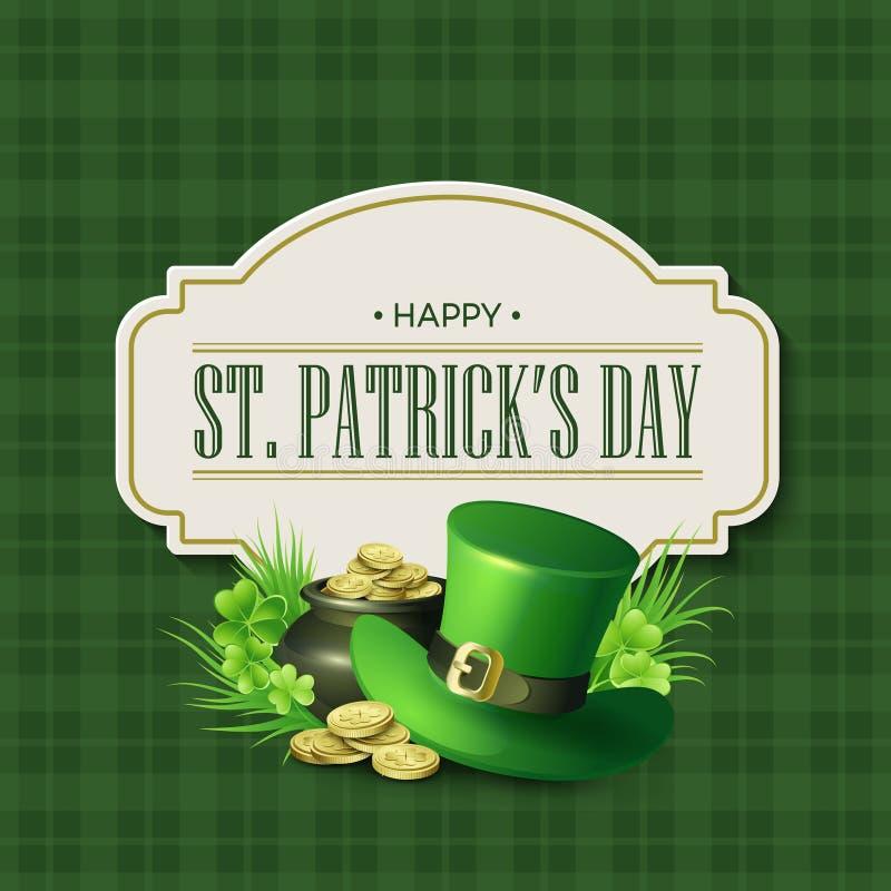 Weinlesefeiertags-Ausweisdesign St. Patricks Tages Auch im corel abgehobenen Betrag stock abbildung