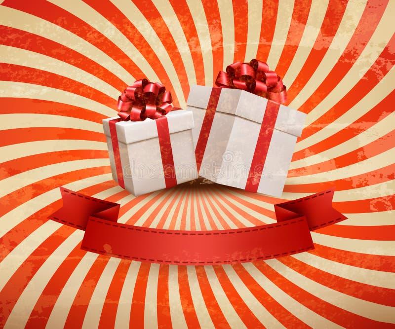 Weinlesefeiertagshintergrund mit zwei roten Geschenkboxen lizenzfreie abbildung