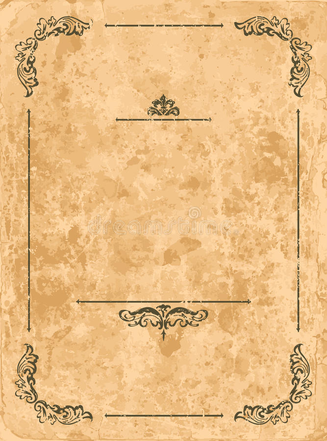 Weinlesefeld auf altem Papierblatt stock abbildung