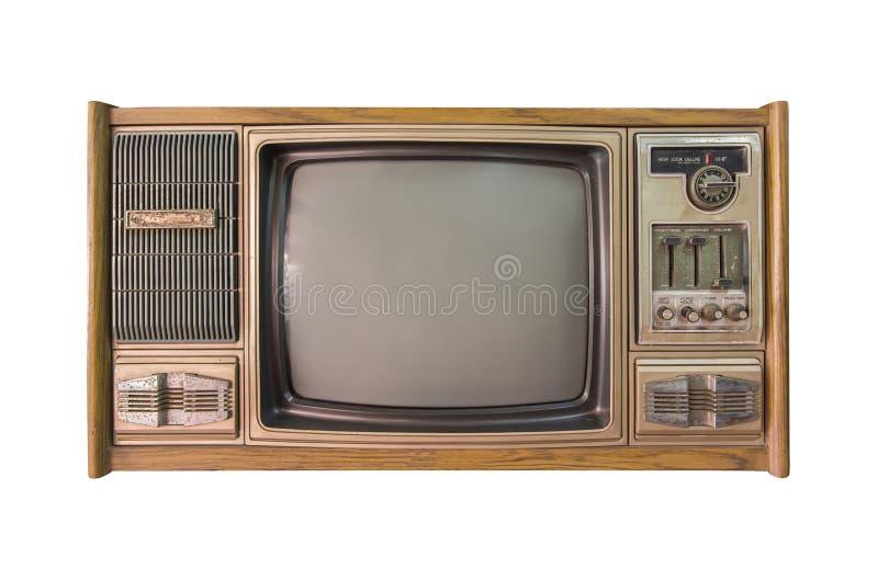 Weinlesefernsehen oder Fernsehen lokalisiert auf weißem Hintergrund lizenzfreie stockfotografie