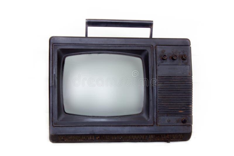 Weinlesefernsehenaltes Fernsehisolat auf Weiß stockbild