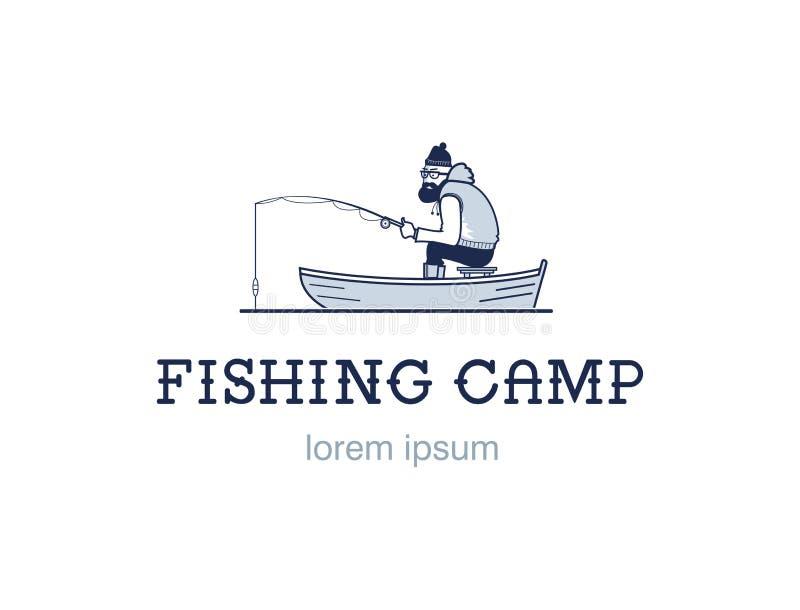 Weinlesefischenemblem oder -logo Der Fischer fischt Hippie-Ausweis auf weißem Hintergrund Flaches Design vektor abbildung