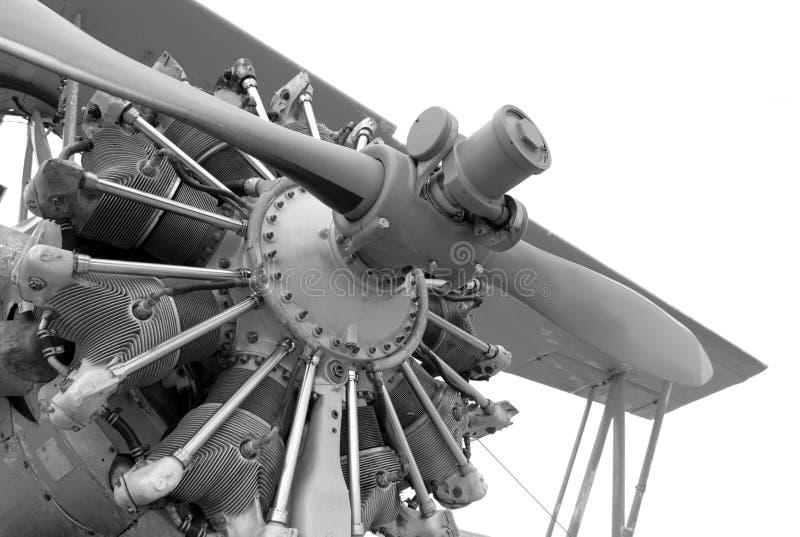 Weinleseflugzeugmotor stockbild