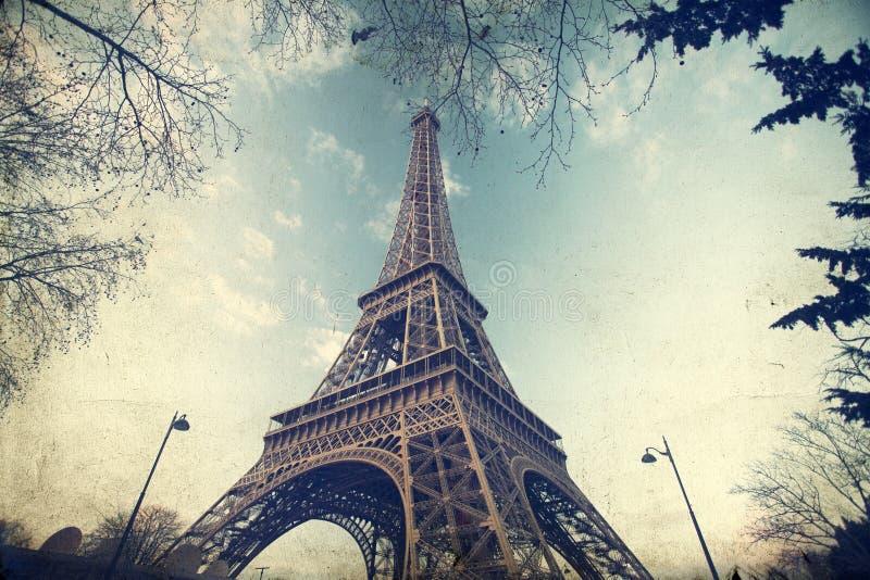 Weinlesefoto des Eiffelturms stockfotografie