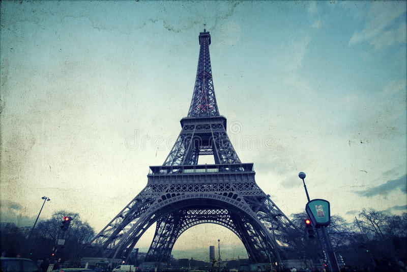 Weinlesefoto des Eiffelturms stockfoto