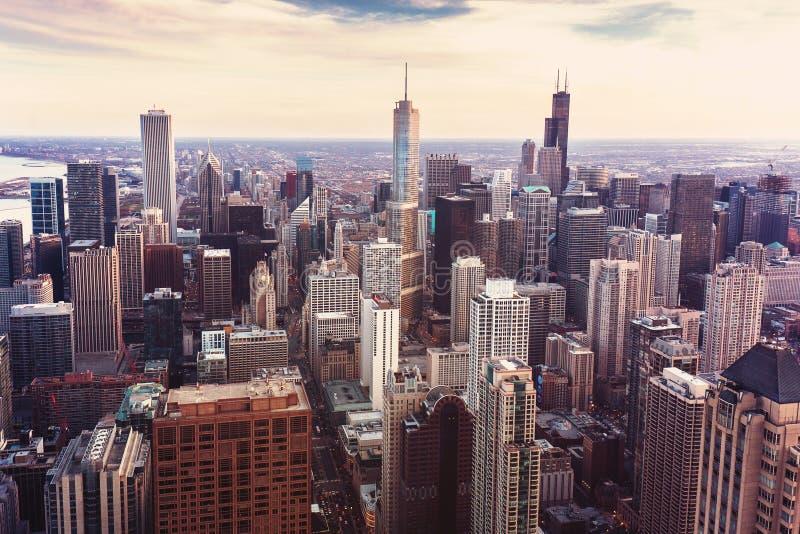 Weinlesefoto mit Vogelperspektive von Chicago, Illinois lizenzfreie stockbilder
