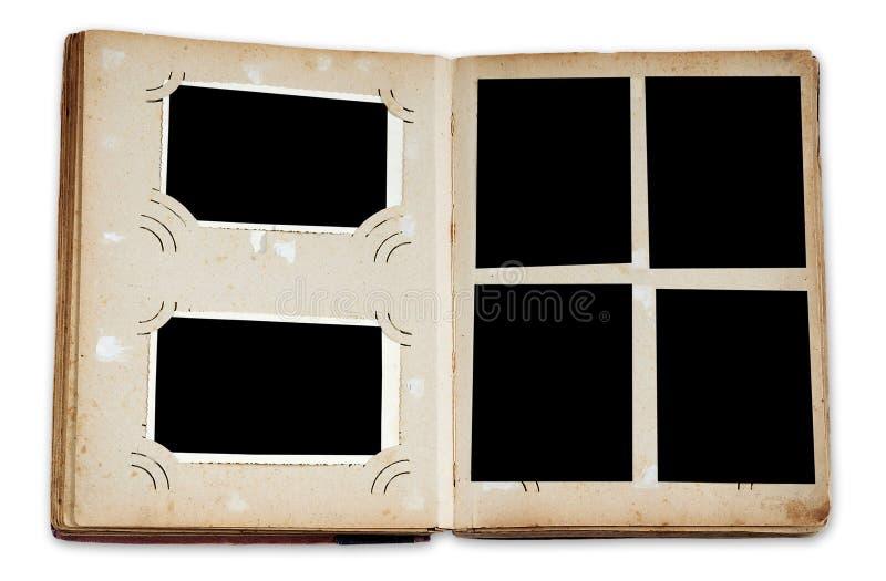 Weinlesefotoalbum mit leeren Fotos lizenzfreie stockfotografie