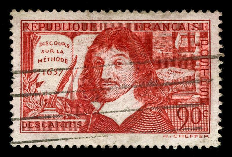 Weinlesefranzosestempel, der Rene Descartes bildlich darstellt lizenzfreie stockfotografie