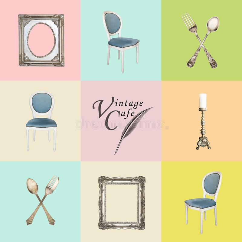 Weinlesegegenstände auf einem farbigen Hintergrund in den Retro- Tönen Antike Stühle, Kalke, Gabeln, Kerzenständer, Rahmen lizenzfreie abbildung