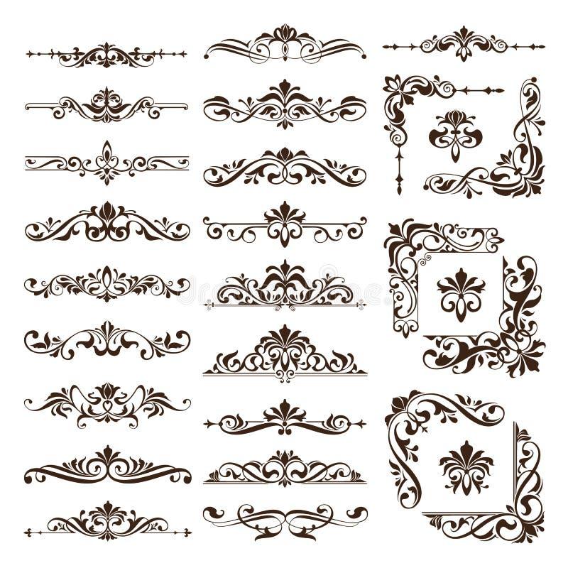 Weinlesegestaltungselementverzierungen gestalten Retro- Aufkleber der Eckenbeschränkungen und gesetzte Illustration des Damastvek lizenzfreie abbildung