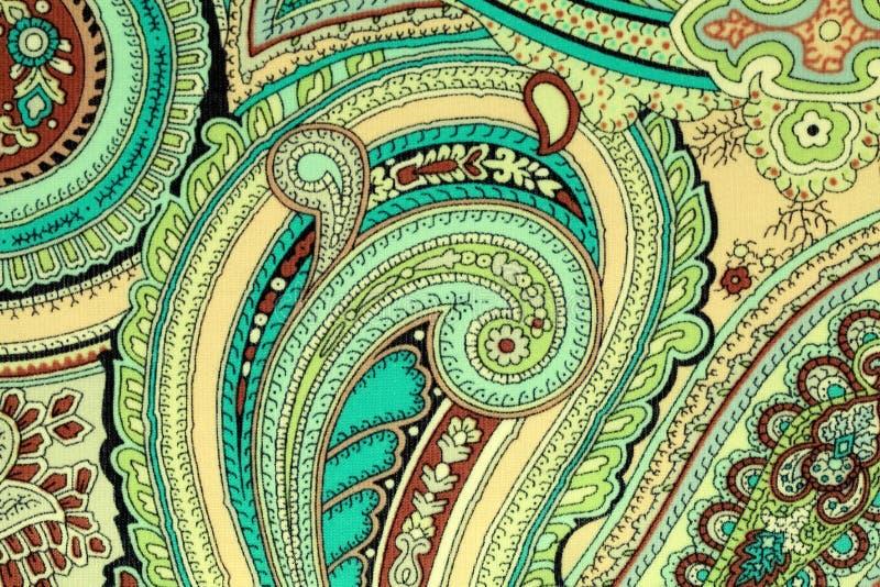 Weinlesegewebe mit blauem und beige Paisley-Druck stockfoto