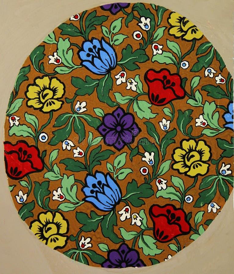 Weinlesegewebe-Textilblumenmuster von hellen Blumen und von Blättern lizenzfreie abbildung