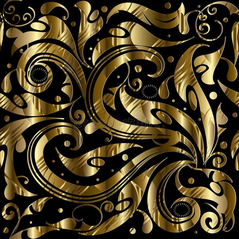 Weinlesegolddekoratives nahtloses Muster 3d Vektor Blumen-patte lizenzfreie abbildung