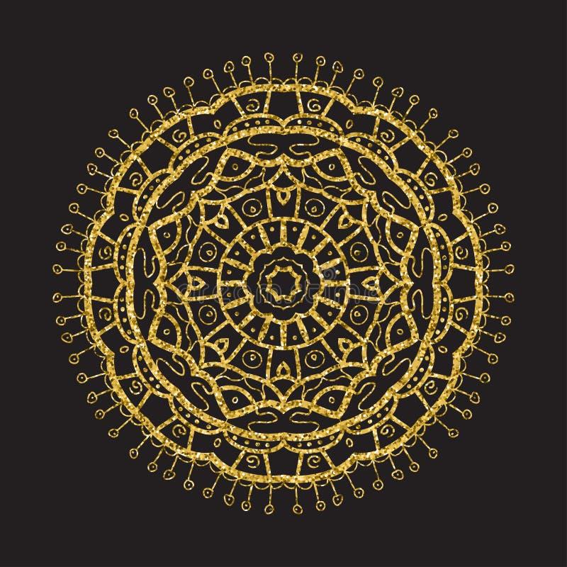 Weinlesegoldfunkelnmandala, Kreisrahmen auf Schwarzem stock abbildung