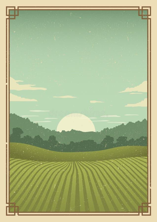 Weinlesegolf-Plakathintergrund stock abbildung