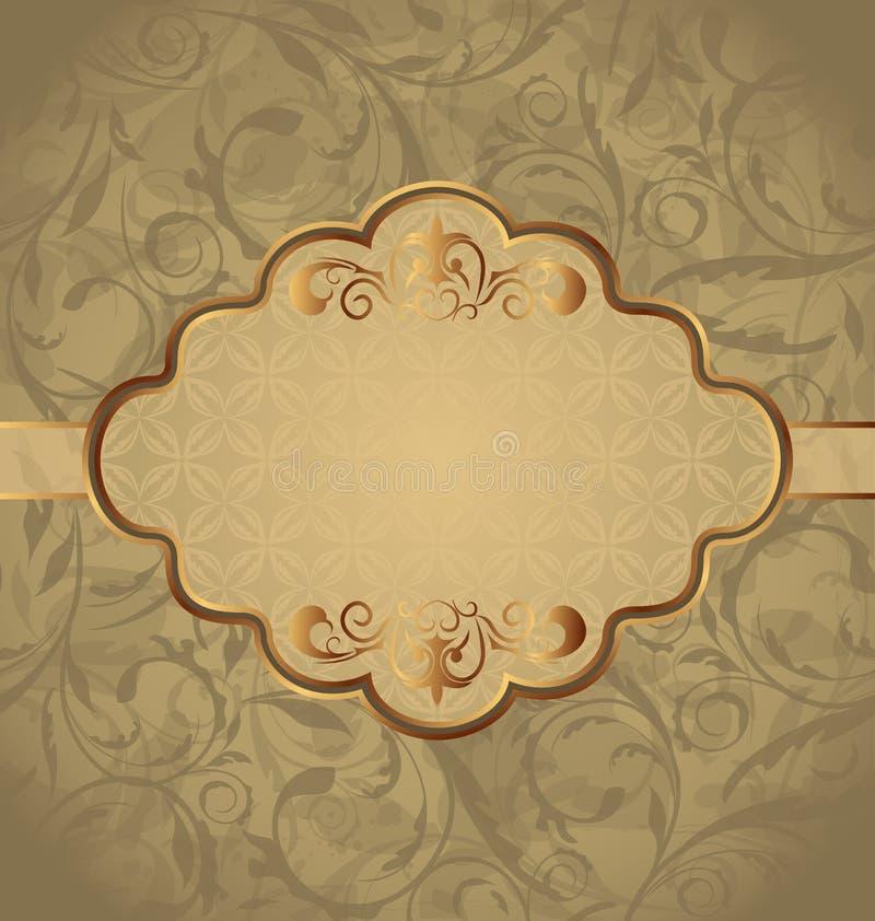 Weinlesegrußkarte, nahtlose Blumenbeschaffenheit lizenzfreie abbildung