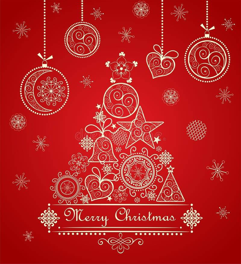 Weinlesegrußweihnachtsrote Karte mit dekorativem Spitzen- Baum und hängendem Flitter lizenzfreie abbildung