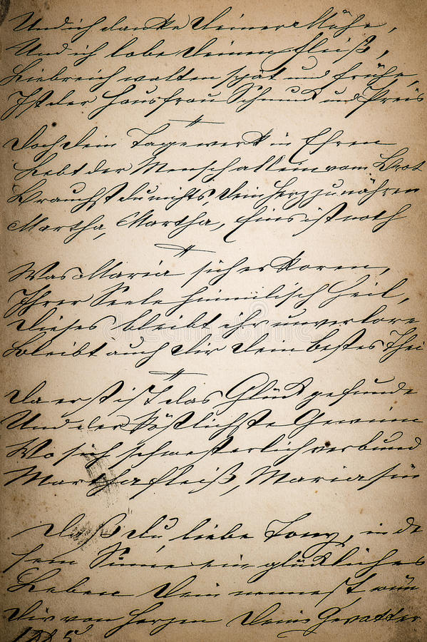 Weinlesehandschrift Seite des alten Poesiebuches gealtertes Papier-backgro stockbild