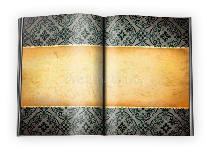 Weinlesehintergrund auf Seiten eines geöffneten Buches lizenzfreie abbildung