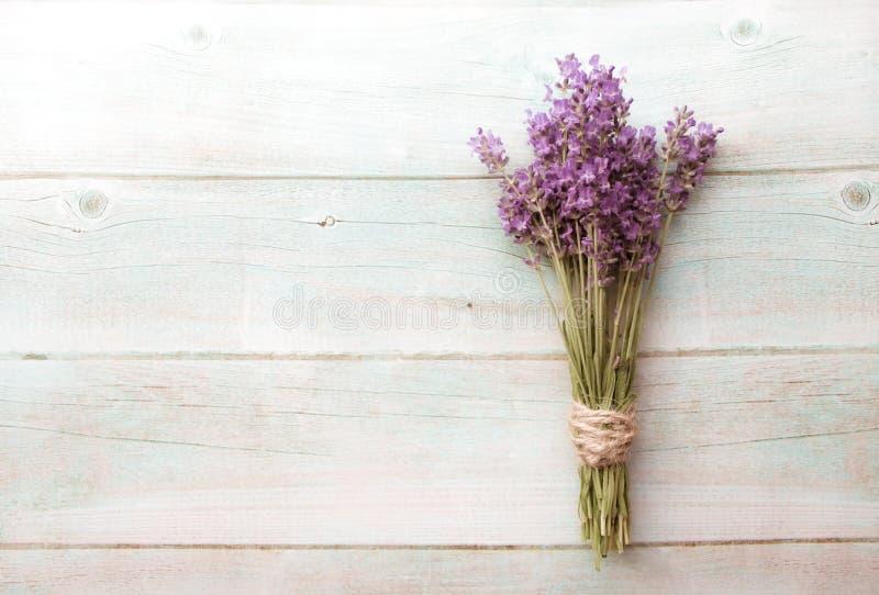 Weinlesehintergrund der Zusammensetzung des Lavendels auf weißem Holz Grenze von frischen Sommerblumen Freier Raum stockfoto