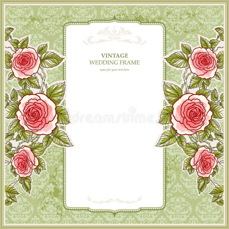 Weinlesehintergrund für die Hochzeit mit Rosen lizenzfreie abbildung