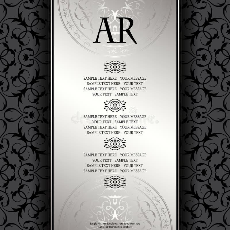 Weinlesehintergrund mit antikem silbernem Luxusrahmen lizenzfreie abbildung