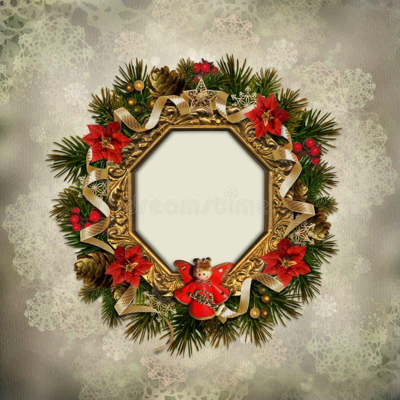 Weinlesehintergrund mit einem WeihnachtsKranz und -engel lizenzfreie abbildung
