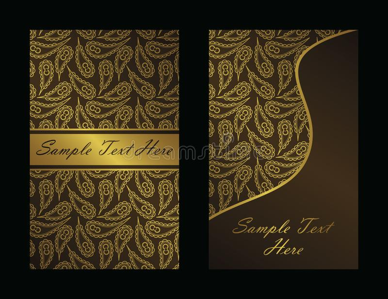 Weinlesehintergrund mit Gold Paisley stock abbildung