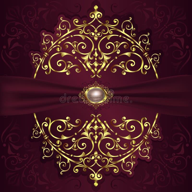 Weinlesehintergrund mit goldenen Spitzeverzierungen und Art- Decodekorativen mit Blumenelementen vektor abbildung