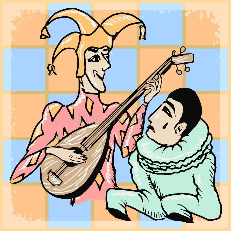 Weinlesehintergrund mit Harlekin und Pierrot stock abbildung