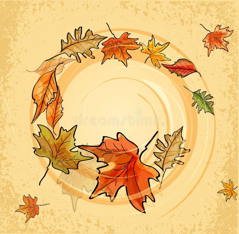 Download Weinlesehintergrund Mit Herbstblättern Vektor Abbildung - Illustration von auszug, kanadisch: 26363434