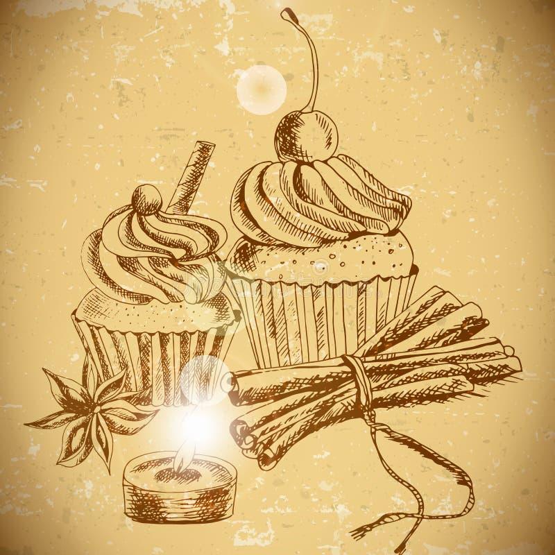 Weinlesehintergrund mit kleinem Kuchen und Zimt vektor abbildung