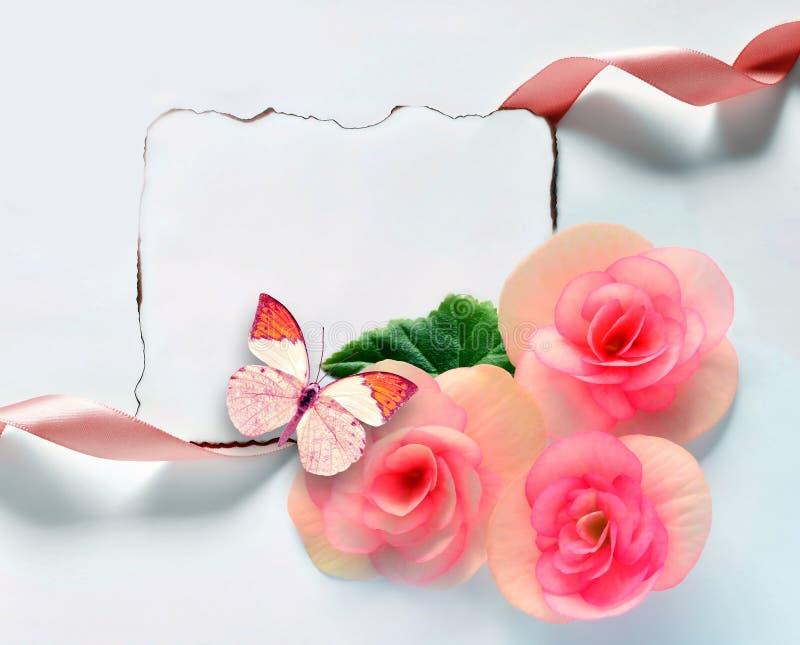 Weinlesehintergrund Mit Papierrahmen Und Blumen Für Glückwünsche ...
