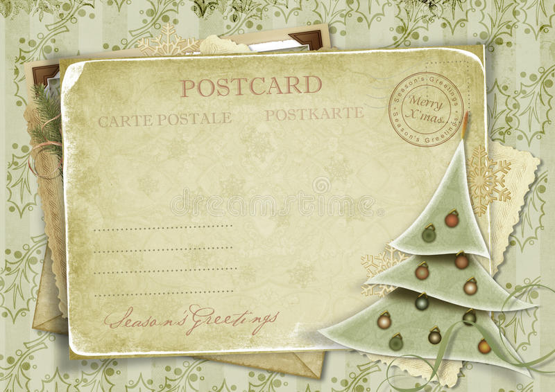 Weinlesehintergrund mit Postkarte und Weihnachten tr lizenzfreies stockbild