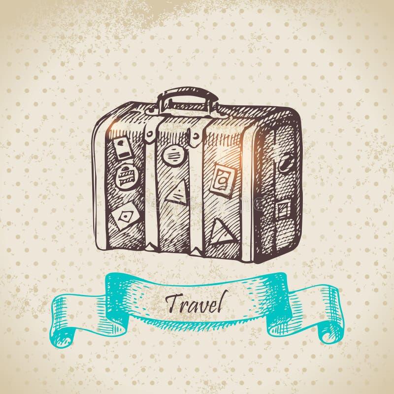 Weinlesehintergrund mit Reisekoffer stock abbildung
