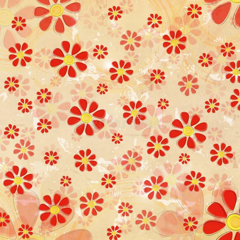 Rote Blumen der Weinlese über altem Papierhintergrund lizenzfreie abbildung