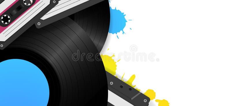 Weinlesehintergrund mit Vinylaufzeichnungen und Magnetbändern für Tonaufzeichnunge Retro- Musikhintergrundschablone vektor abbildung