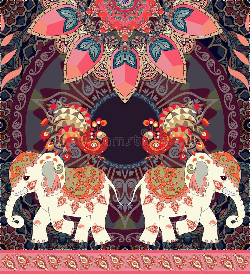 Weinlesehochzeitseinladung, Grußkarte oder nahtloses Retro- Luxusmuster mit exotischen Elefanten, Pfaus, Mandala und Paisley stock abbildung