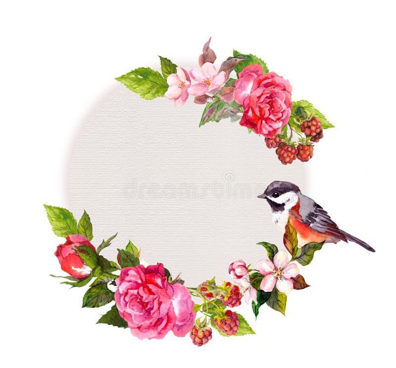 Weinlesehochzeitskarte - Blumen und netter Vogel Aquarellrahmen für Abwehrdatumstext stock abbildung